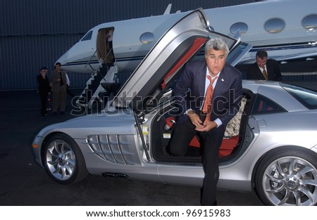 TV chat show host JAY LENO at charity event at Santa Monica Airport for The Robb Report's Best of the Best: Los Angeles. August 28, 2004 - stock photo
