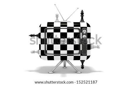 TV chess - stock photo