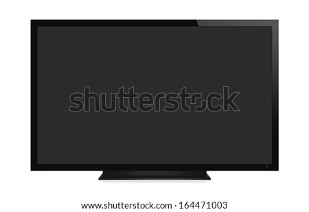 TV display with blank screen. Isolated on white background - stock photo