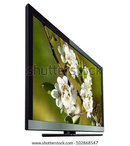 TV flat screen lcd, isolated. - stock photo