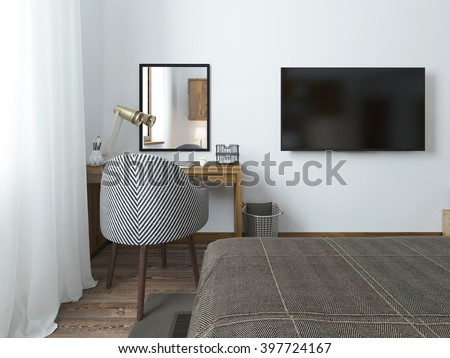 TV hanging on the wall and desk in the bedroom in the loft. Fabric comfortable chair with a striped texture. 3D render. - stock photo