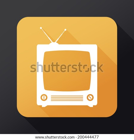 TV icon with long shadow - stock photo
