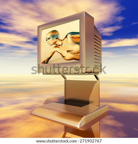 TV Monitor Computer generated 3D illustration - stock photo