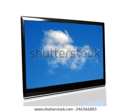 tv monitor over white surface with the sky - stock photo
