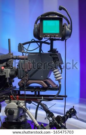 TV NEWS studio with camera - stock photo