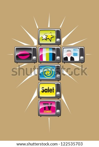 TV religion. Illustration of television, which became the religion of many people. - stock photo