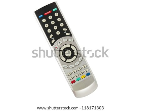 TV remote control isolated on white background - stock photo