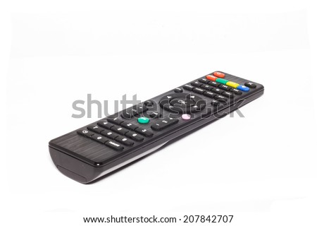 Tv remote control on white background. - stock photo