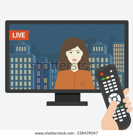 TV remote pointed at screen     Simple illustration Related to watching TV, The Media and Remote control for Your Design. - stock photo