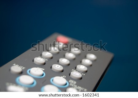 TV Remote Shallow depth of field Focus on 0 button - stock photo