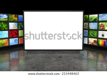 Tv screeen with images - stock photo