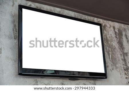TV screen on wall - stock photo