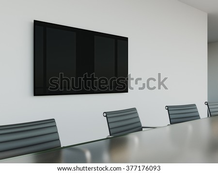 TV screen on wall of conference room. 3d rendering - stock photo