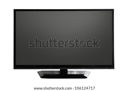 TV screen with black display on white background - stock photo