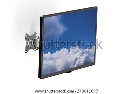 TV set with TV wall mount isolated on white background - stock photo