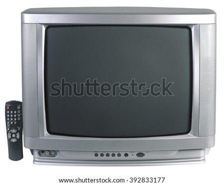 tv television screen old room living home technology vintage view                                                                         - stock photo