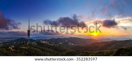 TV  tower and beautiful sunset in Barcelona in Spain. Panoramic view - stock photo