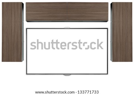 Tv wall unit. - stock photo