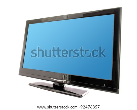 tv with blue display isolated on white background - stock photo