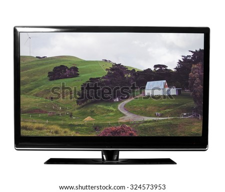 tv with the nature on white - stock photo