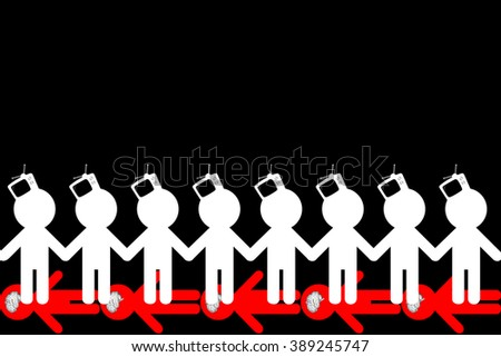 TV - Zombiing of people. Influence of promotion of mass media on the identity of the person. - stock photo