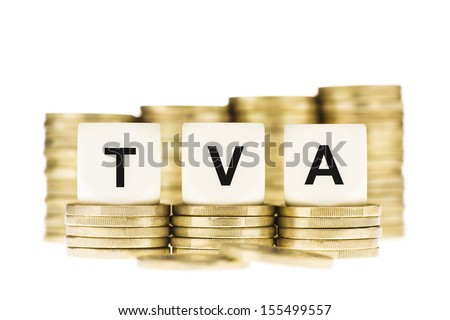 TVA (French Value Added Tax) on Gold Coins Isolated on White - stock photo