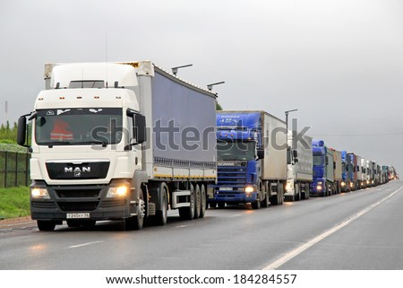TVER REGION, RUSSIA - MAY 22, 2013: Traffic jam at the M10 federal highway connecting Moscow and Saint Petersburg. - stock photo