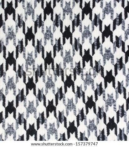 Tweed fabric houndstooth texture, wool pattern close up - stock photo