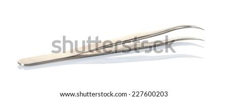 tweezers isolated on white background - stock photo