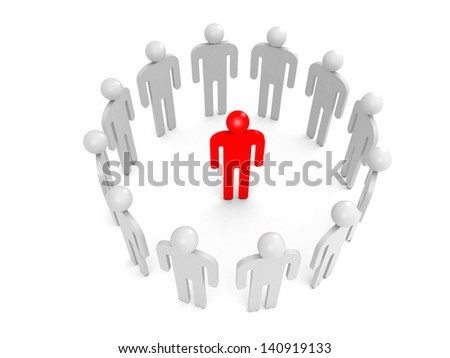 Twelve abstract white 3d people stand in ring with one red person inside. Condemnation illustration concept - stock photo