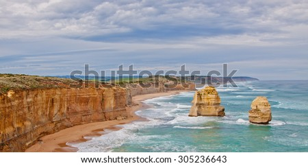 Twelve Apostles along the Great Ocean Road in Victoria, Australia - stock photo