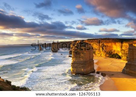 Twelve Apostles at sunset.  Great Ocean Road, Victoria, Australia. - stock photo