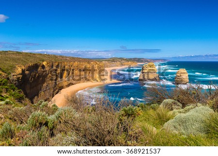 Twelve Apostles, famous landmark along the Great Ocean Road, Australia. - stock photo