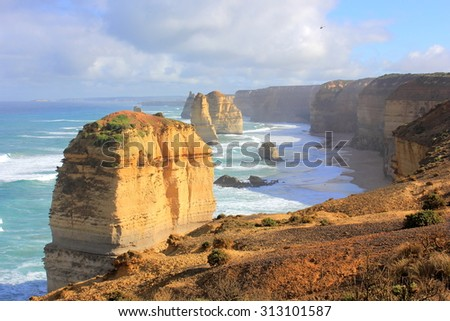 Twelve Apostles seascape along the great ocean road in Australia in morning sunlight....DP - stock photo