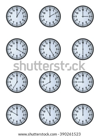 Twelve hours , isolated on white , 3d render - stock photo