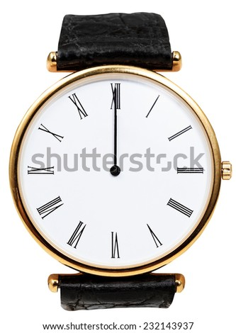 twelve o'clock on dial of wristwatch isolated on white background - stock photo