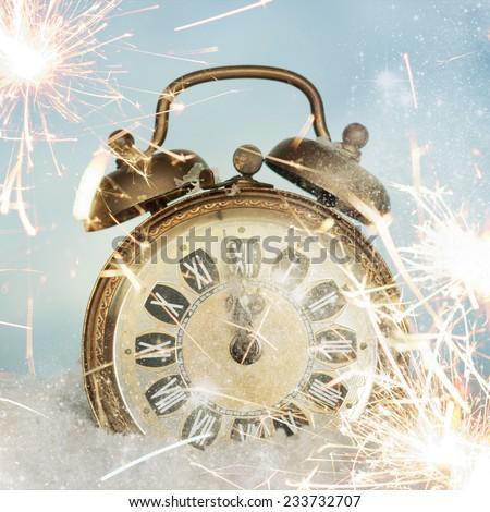 Twelve o'Clock on New Year's Eve - stock photo