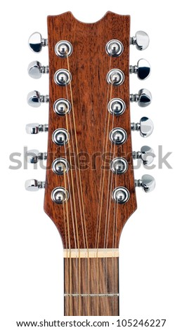 Twelve String Acoustic Guitar Tuning Pegs isolated on white background - stock photo