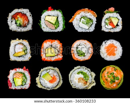 twelve sushi roll in one - stock photo