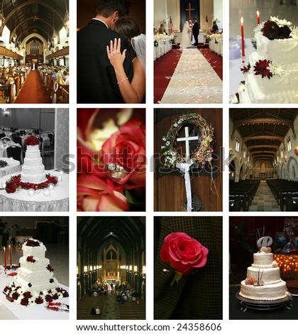 twelve wedding-themed images - stock photo
