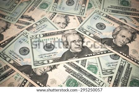 Twenty dollar banknotes stacks close-up (depth of field) - stock photo