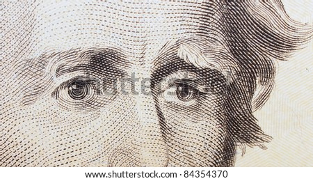 twenty dollar bill, eye Jackson background, textures - stock photo