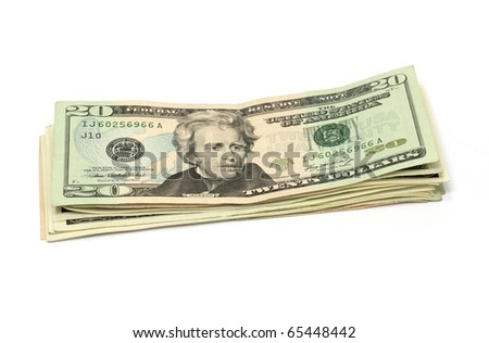 Twenty Dollar Us Bills - stock photo