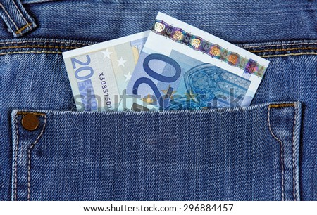 Twenty Euro Bank Banknote in the pocket of jeans. European Union.  Background, Texture - stock photo