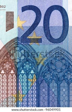 twenty euro banknote detail - stock photo