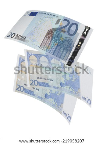 Twenty euro bills collage isolated on white. Vertical format - stock photo