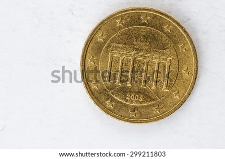 twenty Euro cent Coin with German backside used look - stock photo