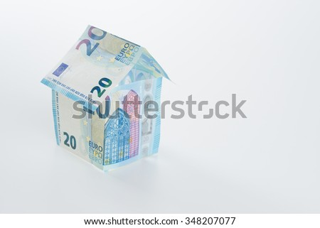 Twenty Euro Note 2015 built in form of a house - stock photo