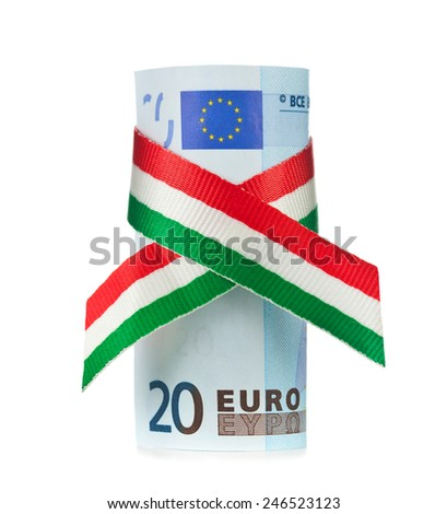 Twenty euro rolled with tricolor ribbon on white background. - stock photo