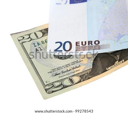 twenty euros and twenty dollars bill isolated on white background - stock photo